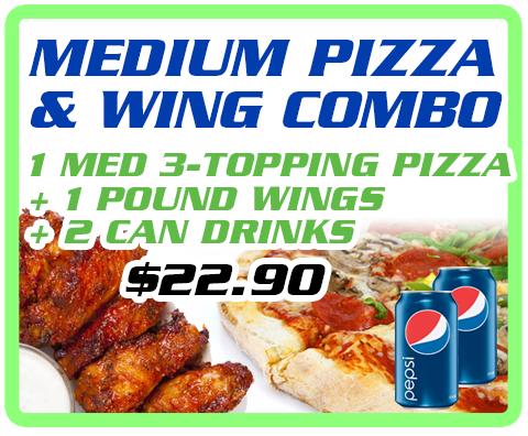 Medium Pizza & Wing Combo Image