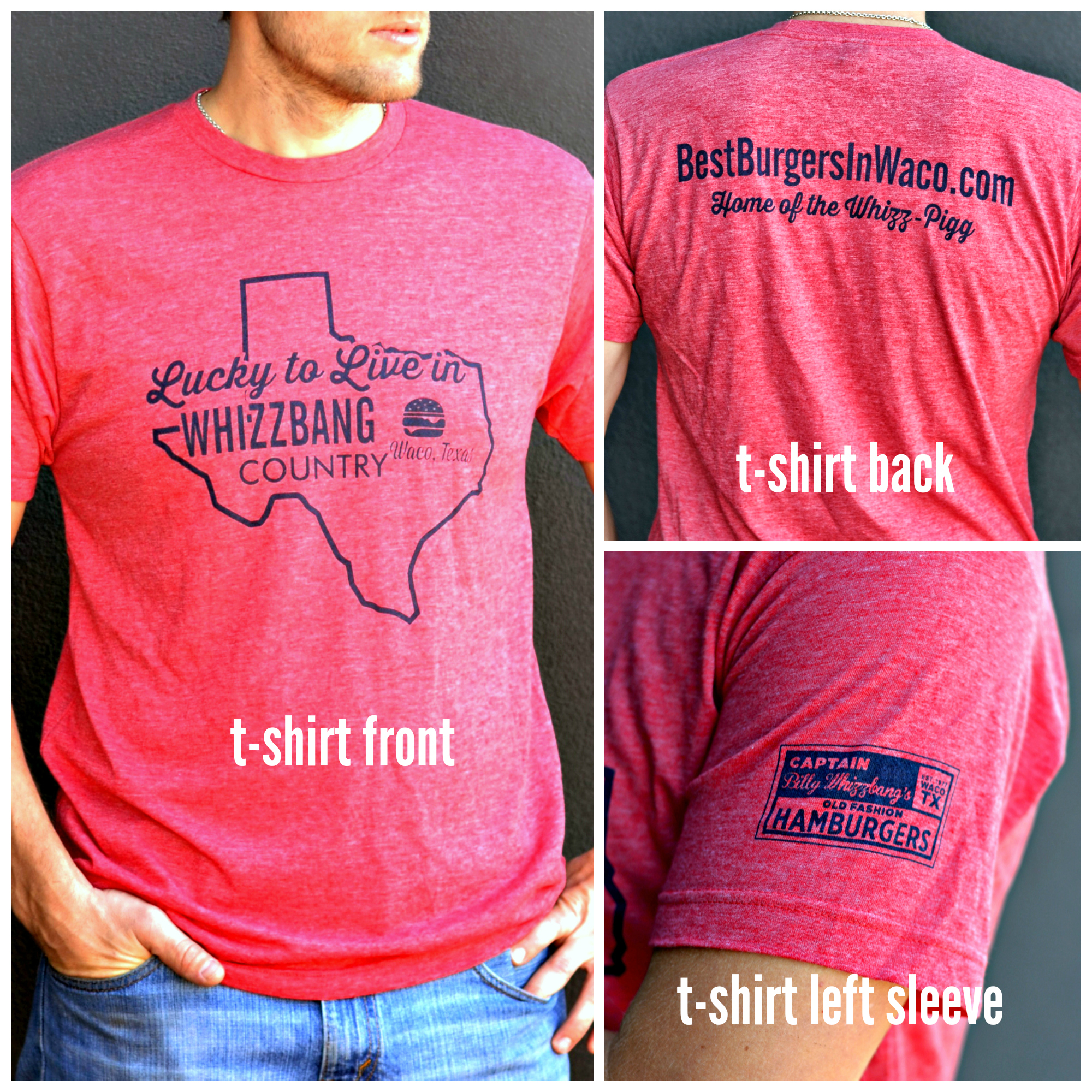 Heather Red w/ Navy Texas Whizzbang T-Shirt Image