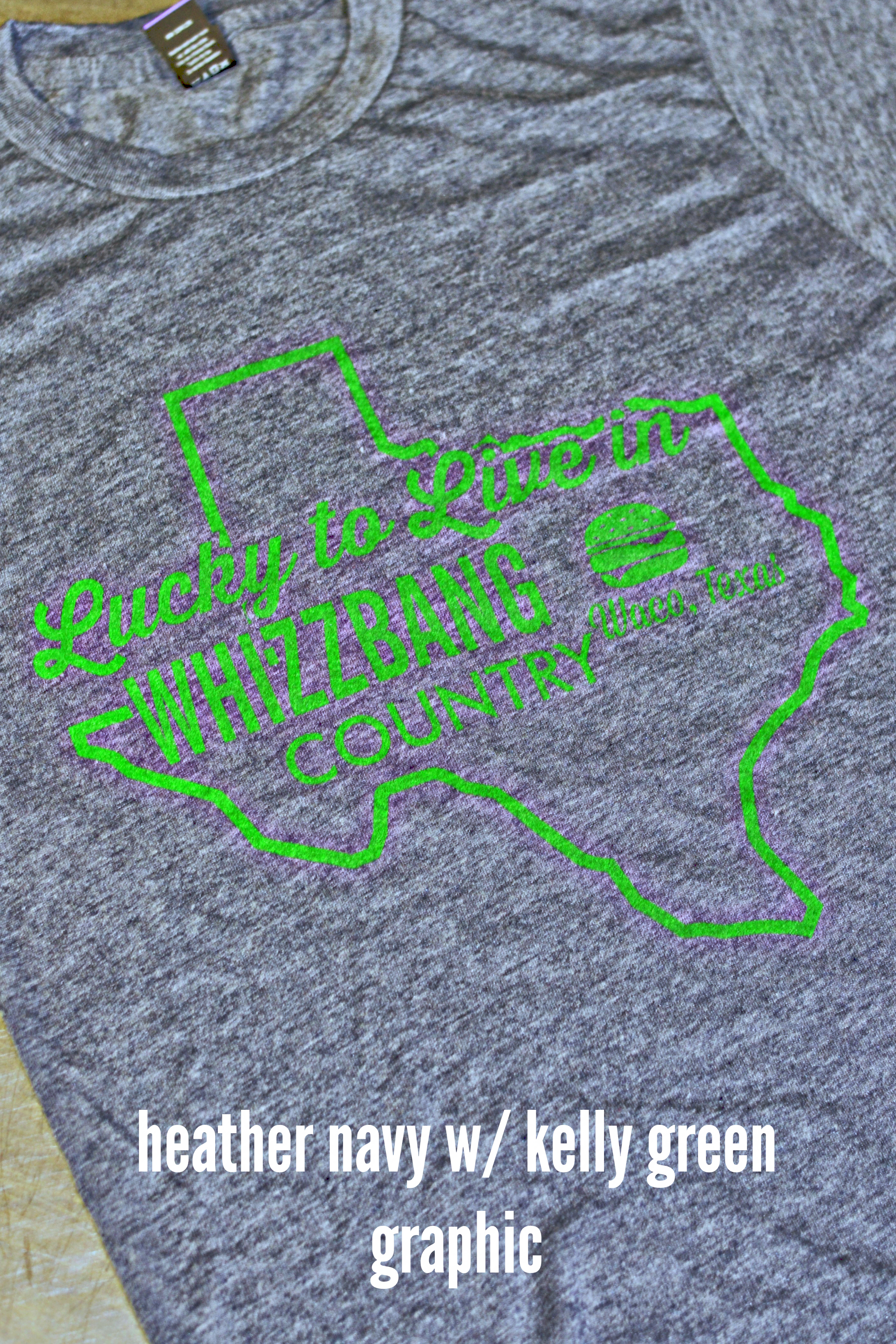 Heather Navy w/ Kelly Green Texas Whizzbang T-Shirt Image