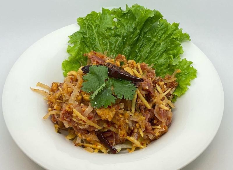 S16. Spicy Crispy Rice & Thai Garlic Pork Sausage (Yum Naem Khao Tod) Image