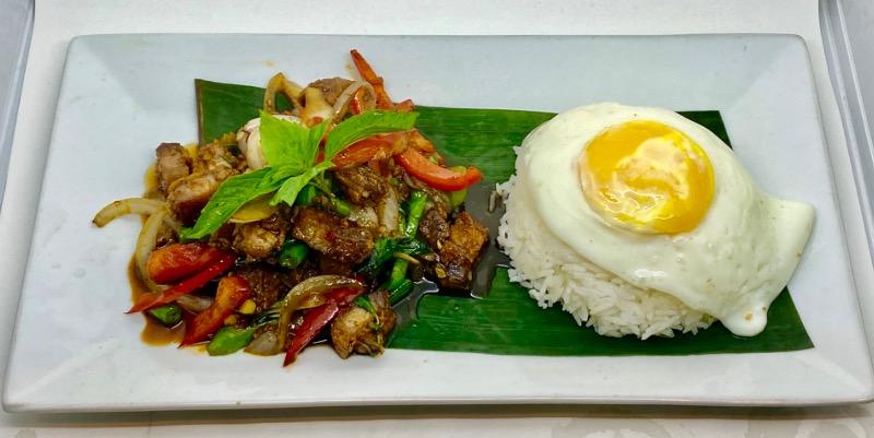 T1. Basil Crispy Pork Belly over Rice (Kra Praw Moo Grob)