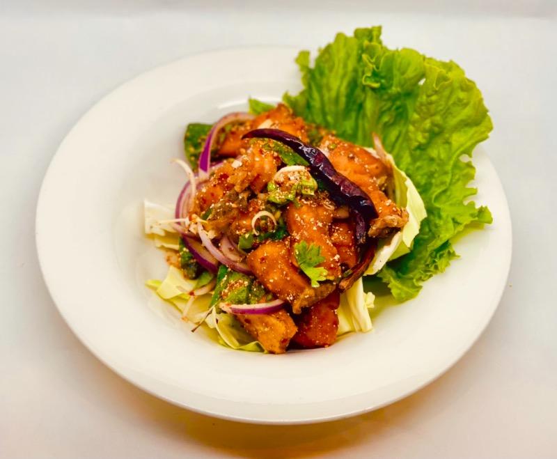 S22. Crispy Salmon Larb Salad