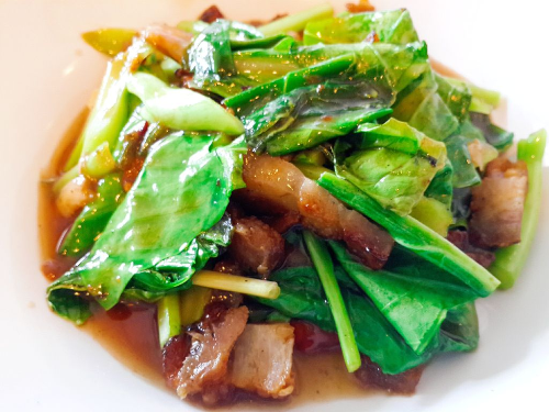 T2. Asian Broccoli Crispy Pork Belly Over Rice (Kana Moo Grob) Image