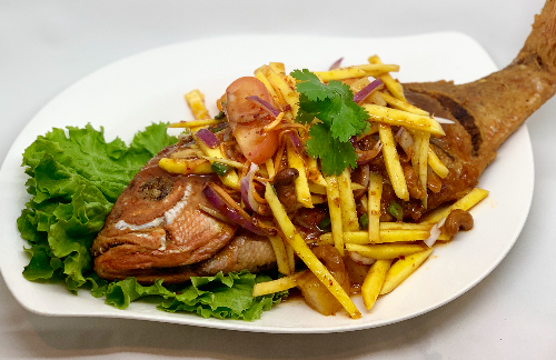 Q1. Whole Crispy Red Snapper  W/ Spicy Mango Salad Image