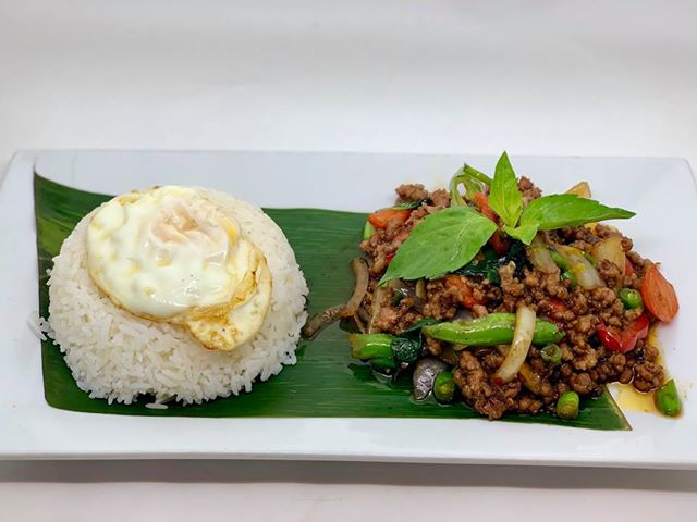T4. Basil Minced Pork or Chicken or Beef over Rice