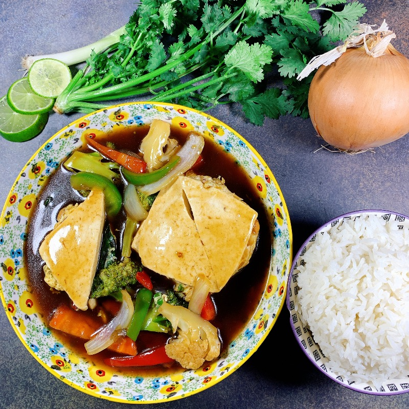 Stuffed Steam Tofu With Cashew Nuts