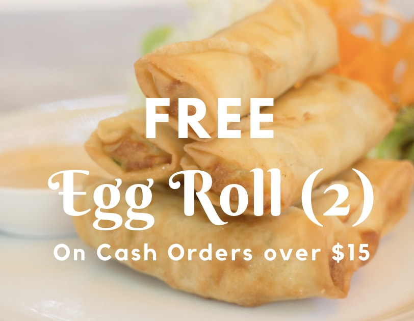 free egg roll on purchase over $15