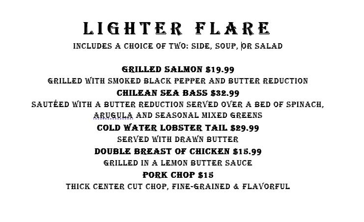 Lighter Flare Entrees