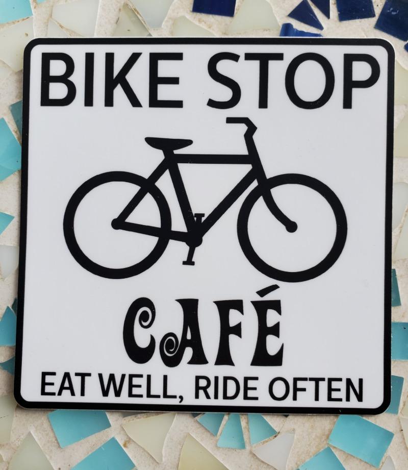Bike Stop Cafe Sticker Image