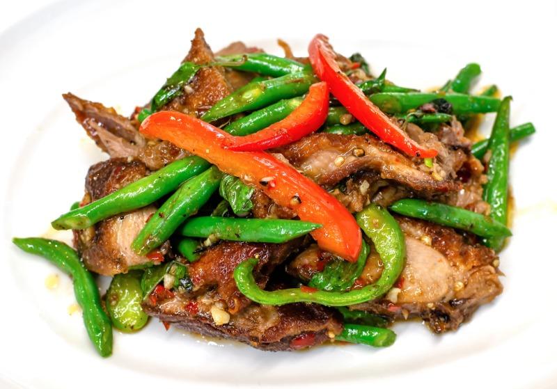 Duck Pud Bi Gra Prow (Spicy Basil Duck)