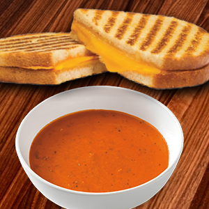 Saturday: Grilled Cheese, Bowl of Tomato Soup, Chips & Drink Image