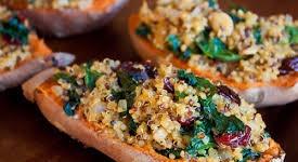 Cranberry, Wild Rice & Quinoa Stuffed Sweet Potato