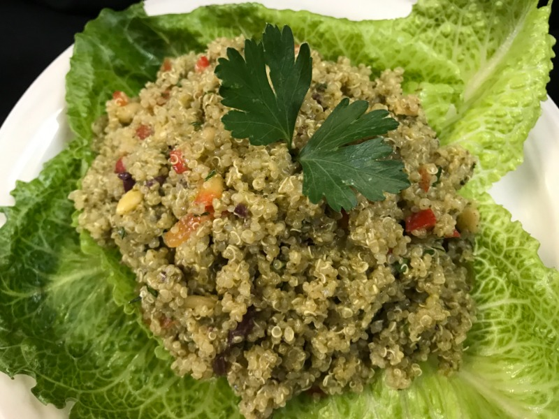 Pesto Quinoa on Romaine