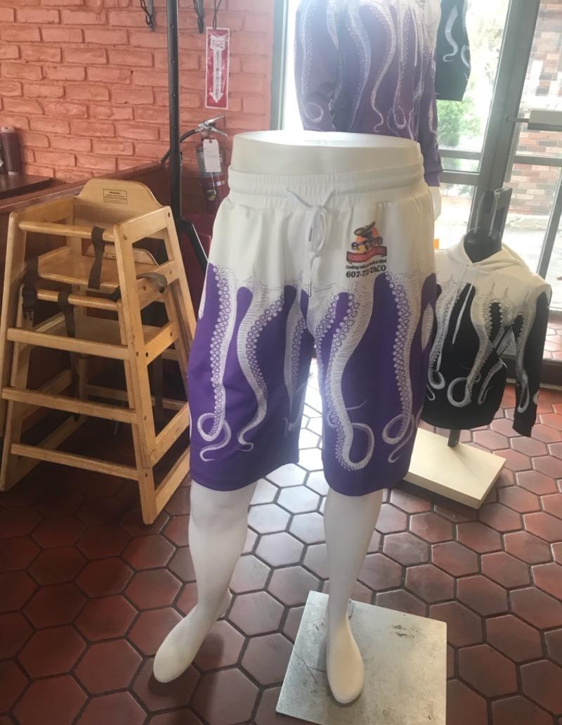 Purple and White El Pulpo Shorts Image