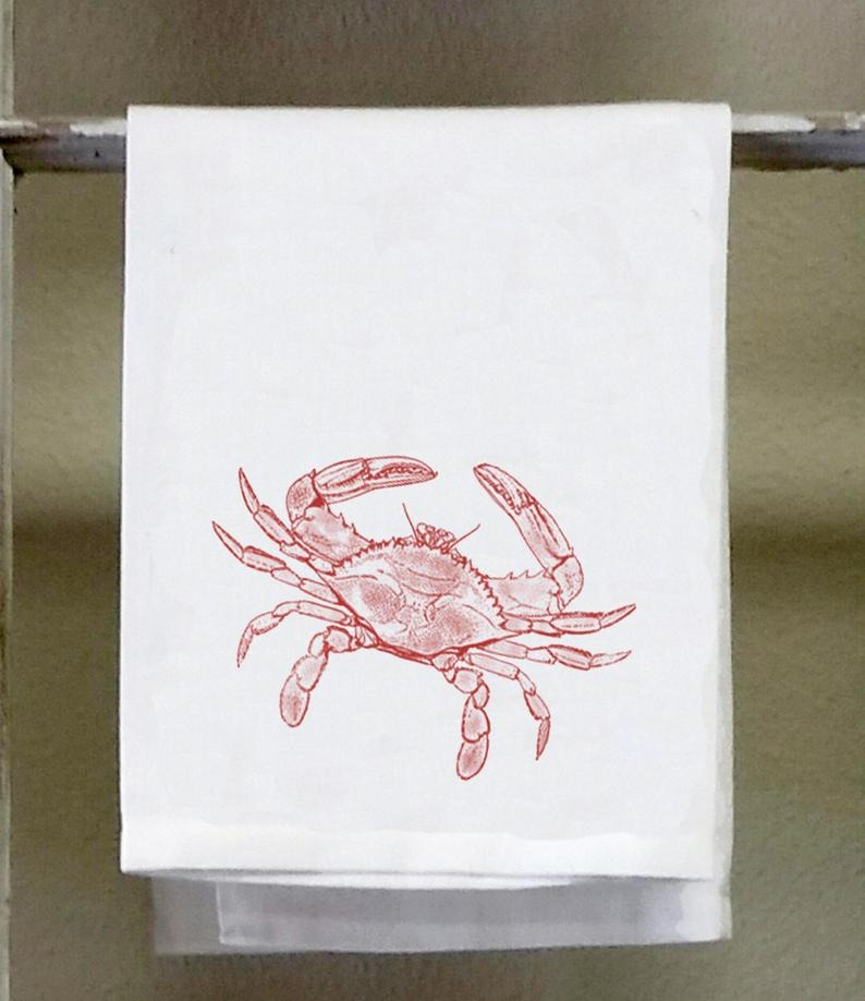 Hand Towels with Crab Design Image