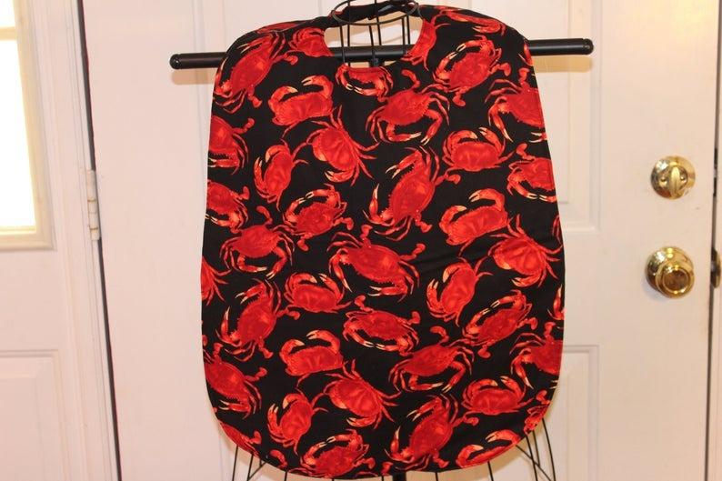 Adult Cloth Bib with Crab Design Image