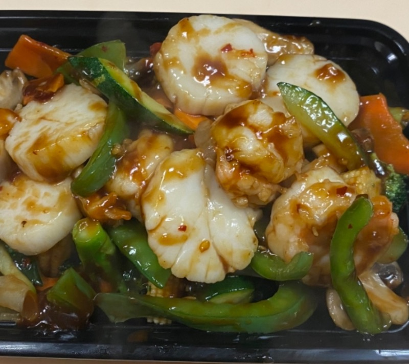 鱼香干贝虾 Shrimp & Scallop with Garlic Sauce