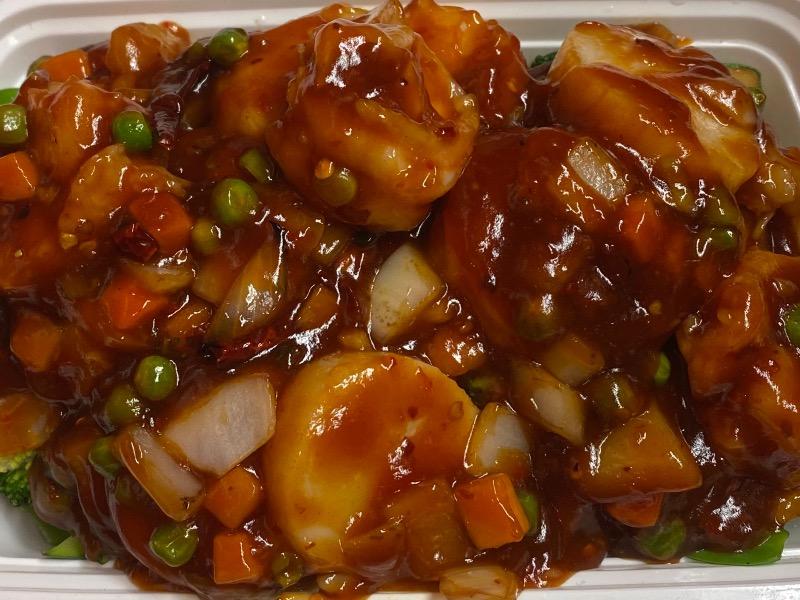 四川虾干贝 Shrimp & Scallop in Szechuan Style