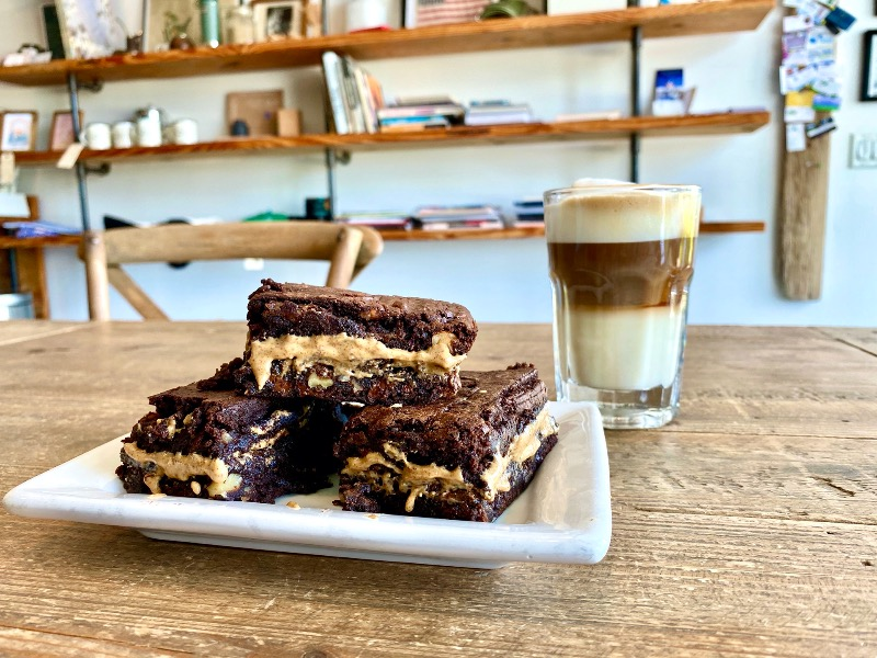House-made Chocolate Brownies and blueberry Image