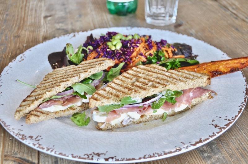 Prosciutto Brie panini w/ salad Image