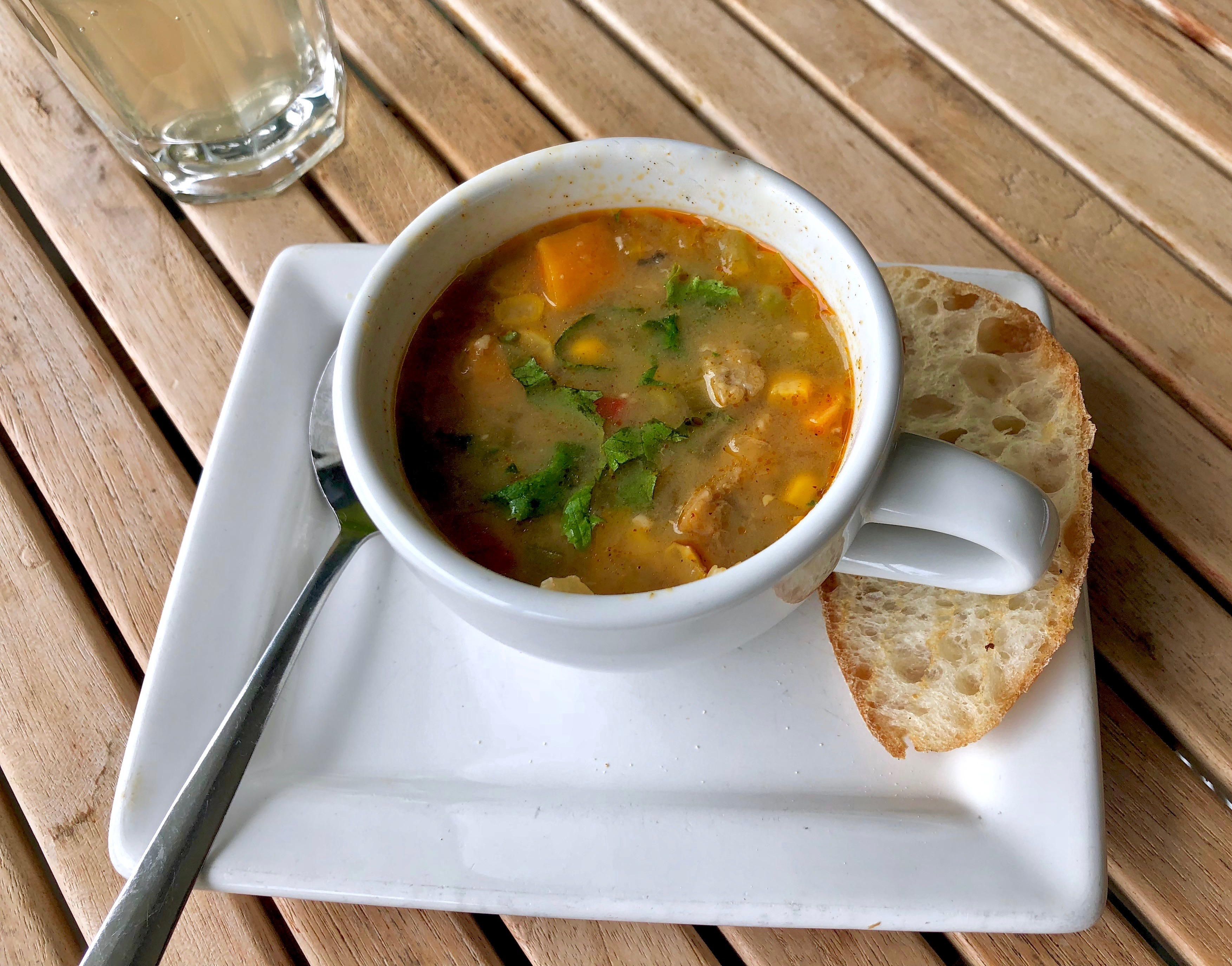 Fri - Organic chickpea miso soup with black eye peas tempeh Image