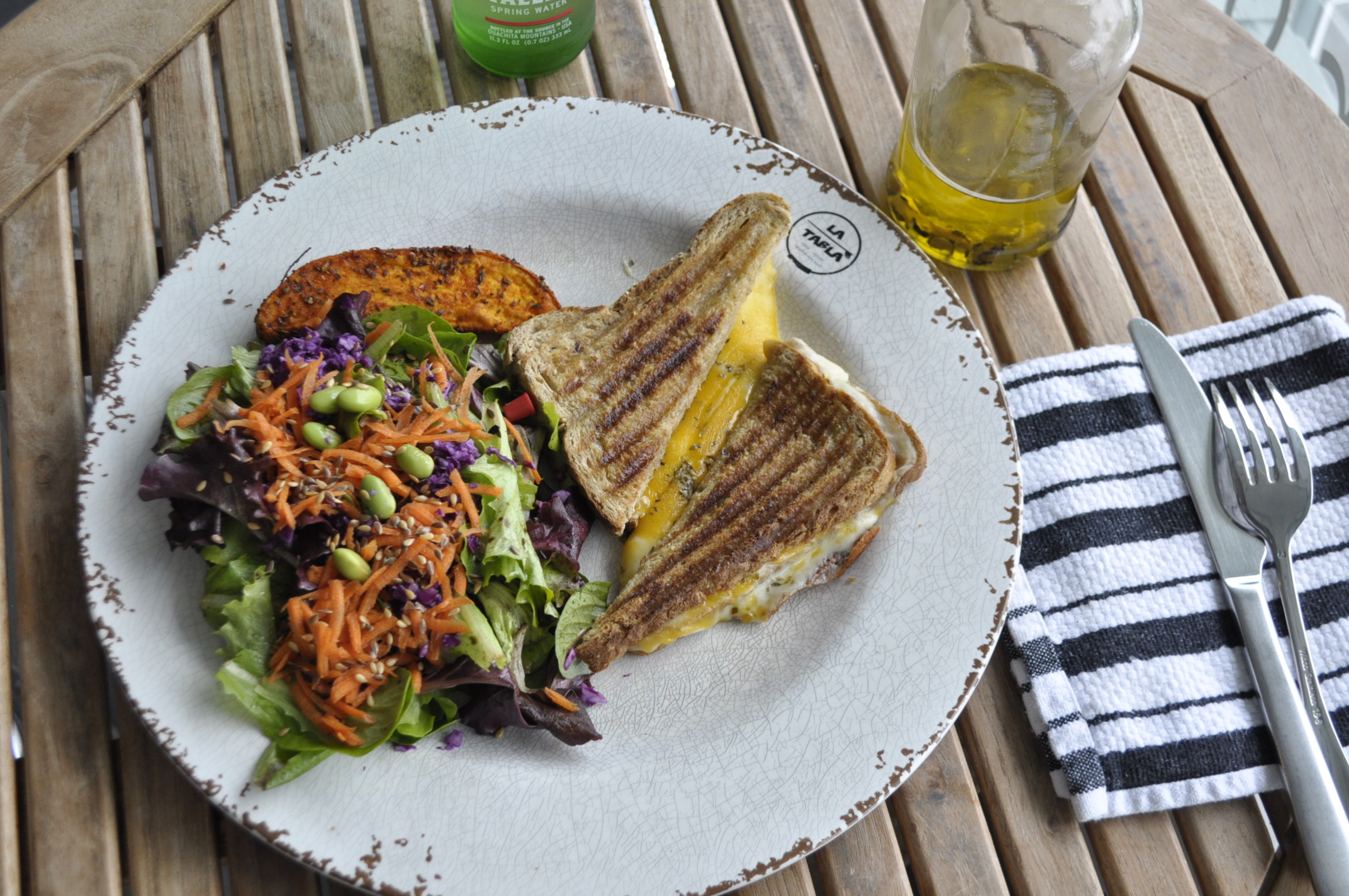 Four cheese Panini with organic black truffle olive oil