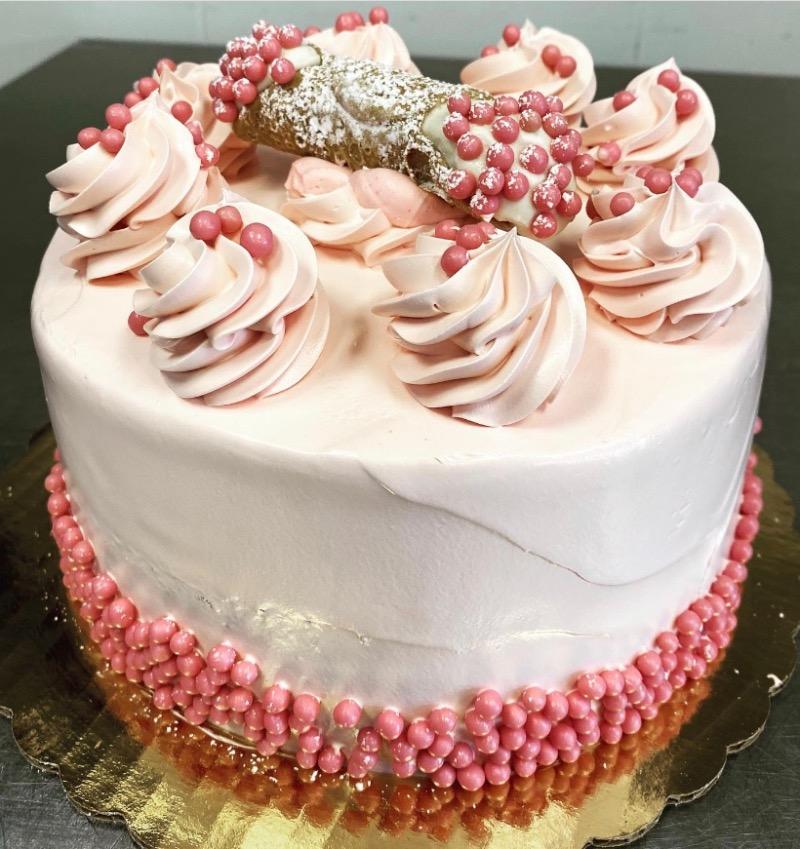 Strawberry Cannoli Cake (8in Round) Image