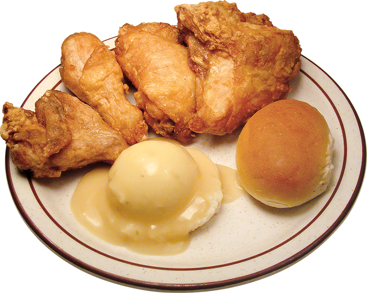 Broasted Chicken, Mashed Potatoes/Gravy, Roll Image