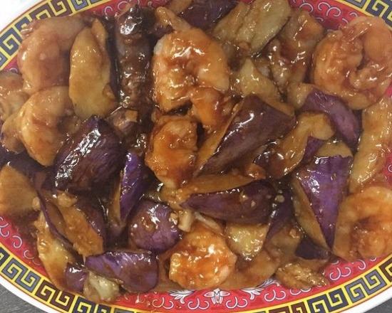 138. Shrimp w. Eggplant in Garlic Sauce 鱼香茄子虾