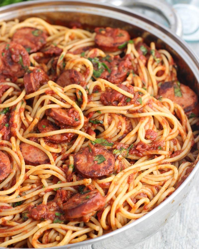 Spaghetti with Sweet Italian Sausage Image