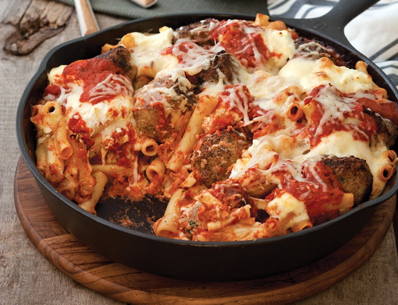 Baked Penne with Homemade Meatballs