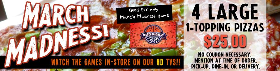 4 LG 1-topp Pizzas $25! Image