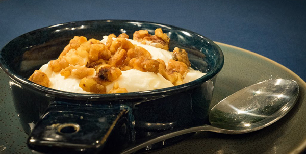 Greek Yogurt with Candied Walnuts & Honey Image