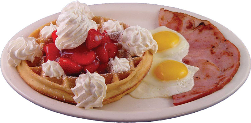 Strawberry Waffle, Ham & Eggs Combo (not avail after 3pm)