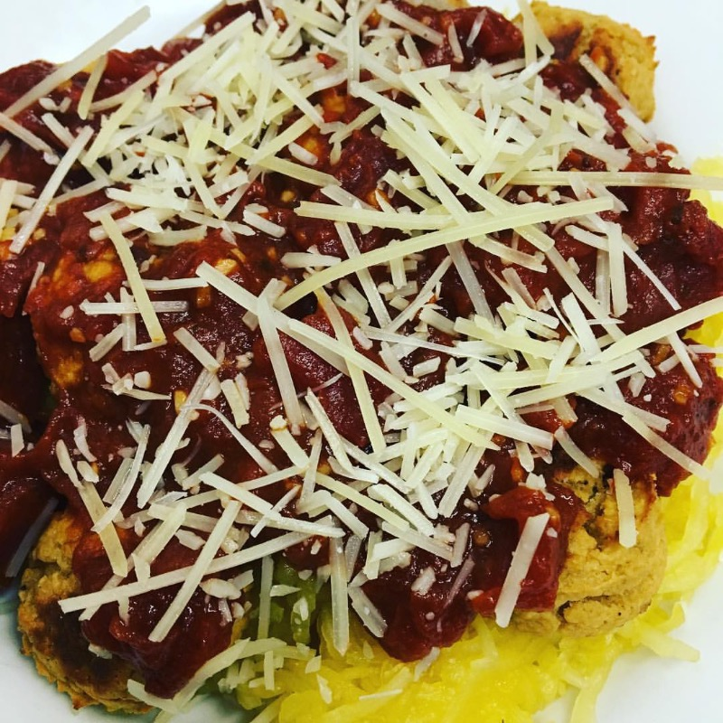 Chickpea Meatballs Marinara over Spaghetti Squash Image
