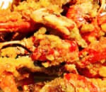 Sauteed Rice Cake Live Lobster Covered w. Salted Egg Yolk Image