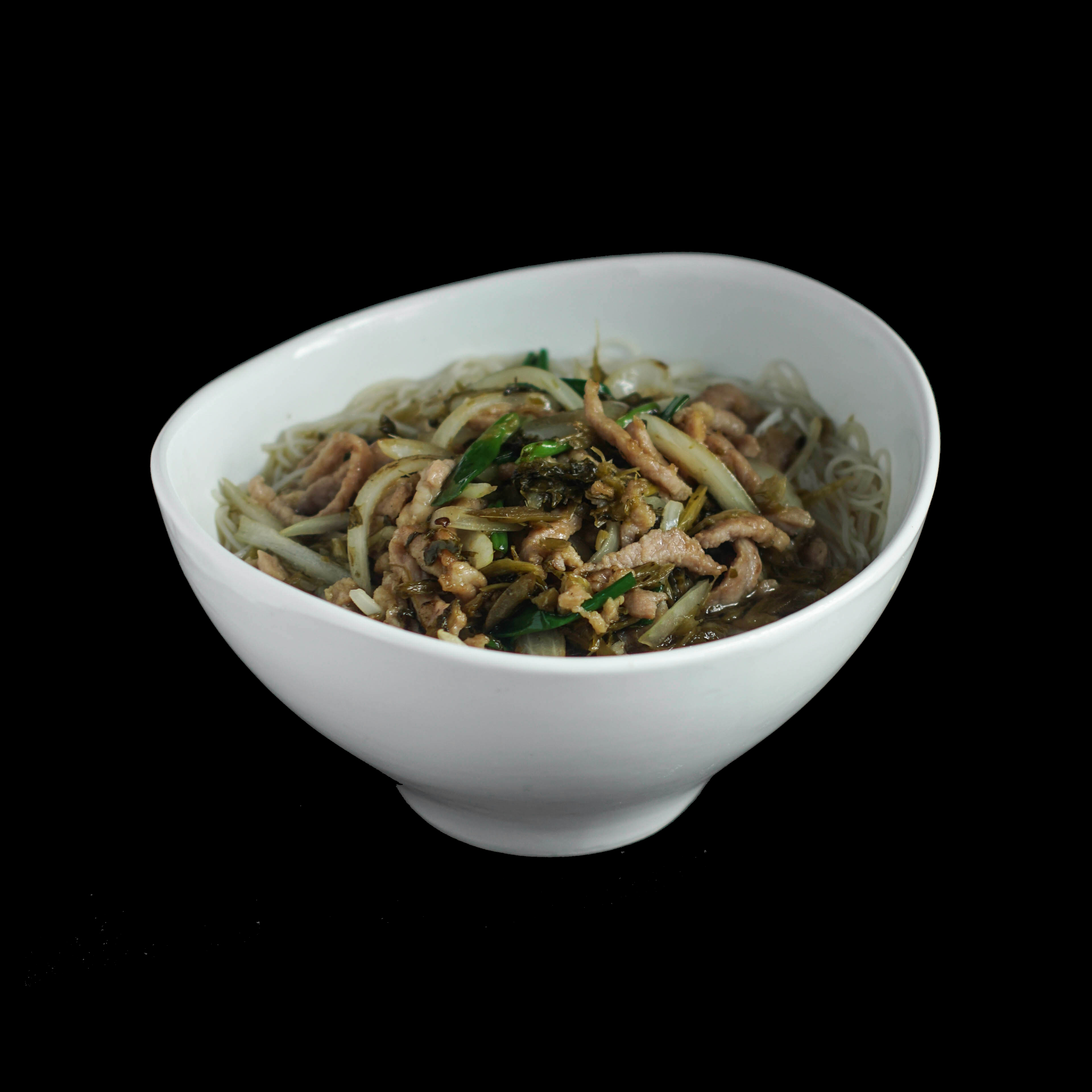 110. 雪菜肉丝 Shredded Pork w/ Preserved Vegetable Noodle Soup Image