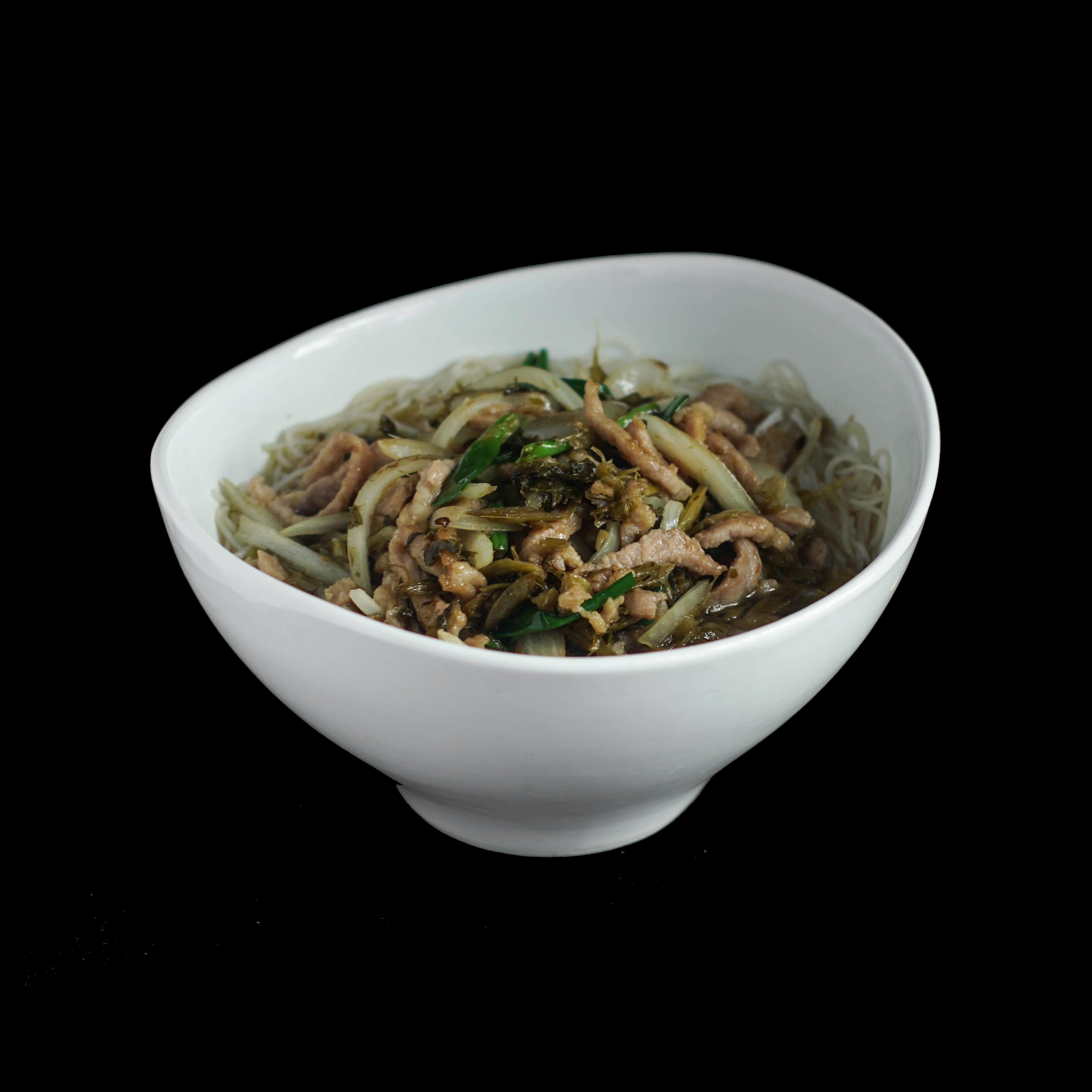 110. 雪菜肉丝 Shredded Pork w/ Preserved Vegetable Noodle Soup Image