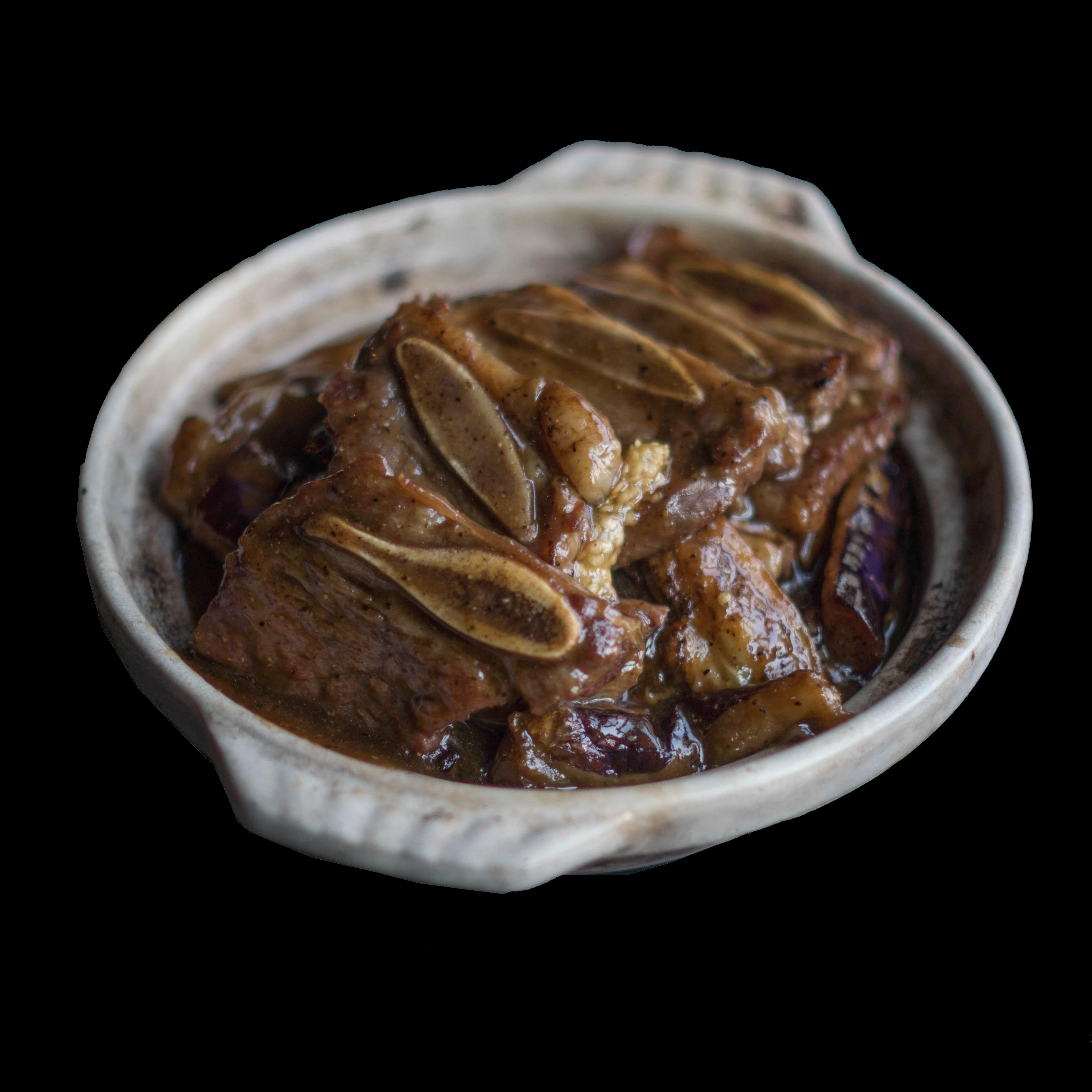 96. 黑椒茄子牛仔骨 Black Pepper Braised Beef Short Ribs w/ Eggplant Image