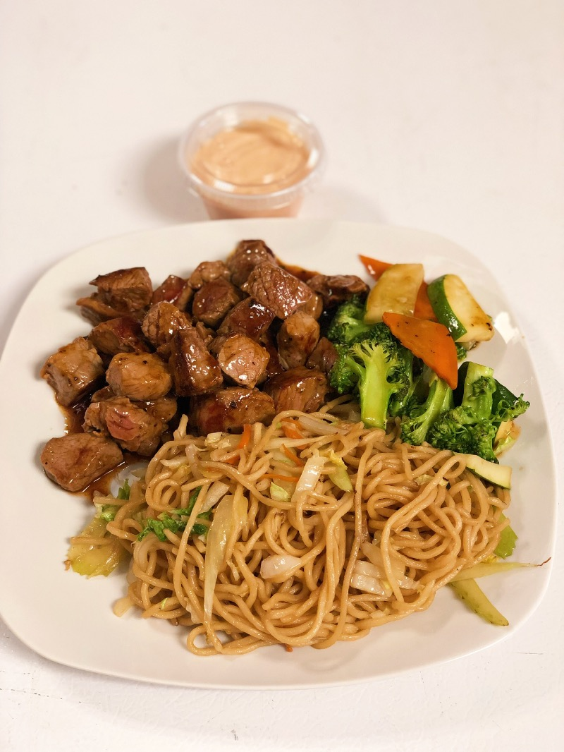 K4. Steak Hibachi w. Lo Mein 铁板 牛 捞面