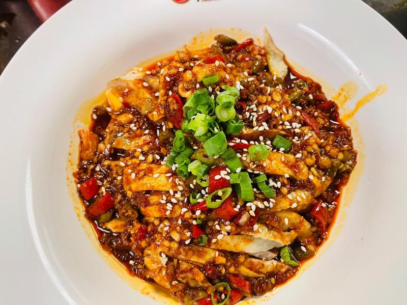 2. 口水鸡 Poached chicken with chili sesame soy