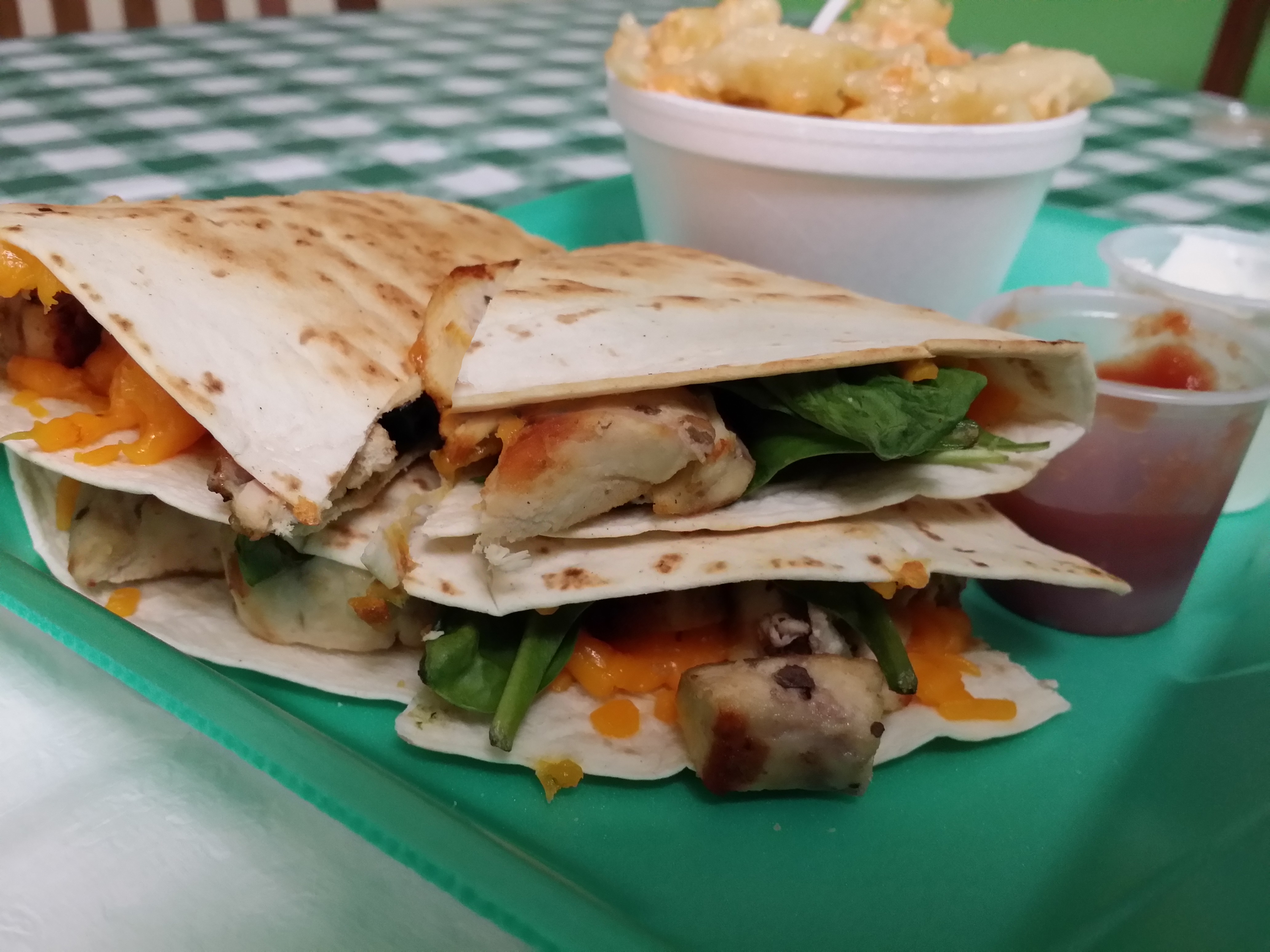 CHICKEN QUESADILLA w/ Fresh SPINACH w/ Side Of RICE/BEANS Image