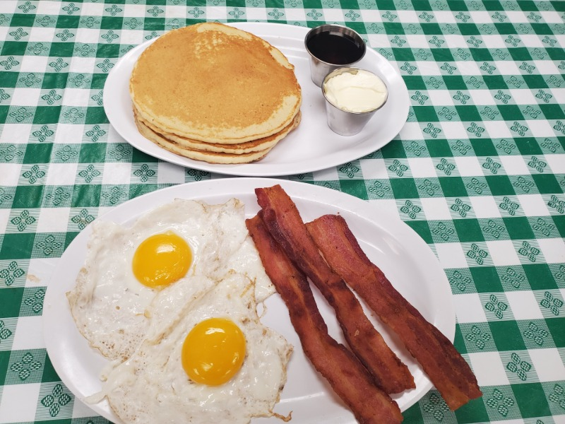 Stack of Pancakes w/ Eggs & BACON (pork) Image