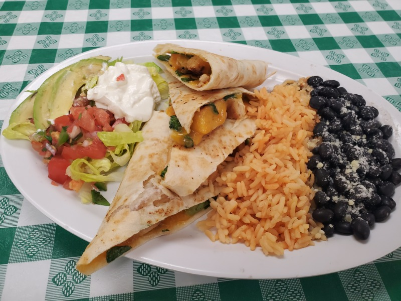 CHICKEN QUESADILLA w/ Fresh SPINACH w/ Side RICE/BEANS Image