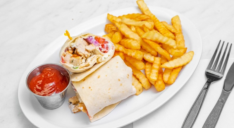 GREEK Grilled CHICKEN WRAP w/ Choice Of Side Image