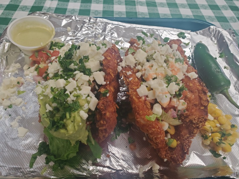 (2) HOMEMADE Doritos CHICKEN Taco SHELLS w/ Side RICE/BEANS Image