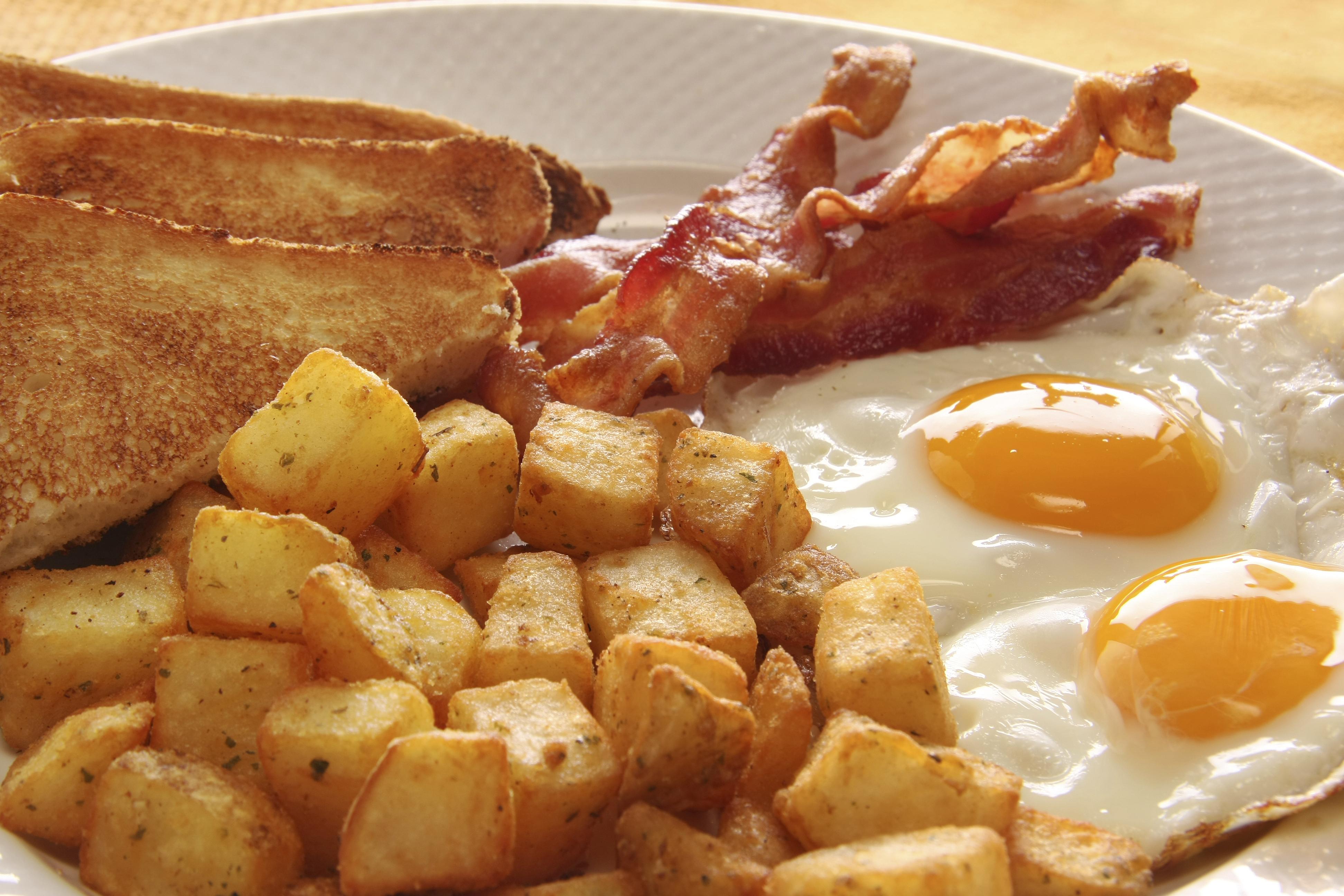 Eggs, Potatoes, BACON & Bread Platter Image