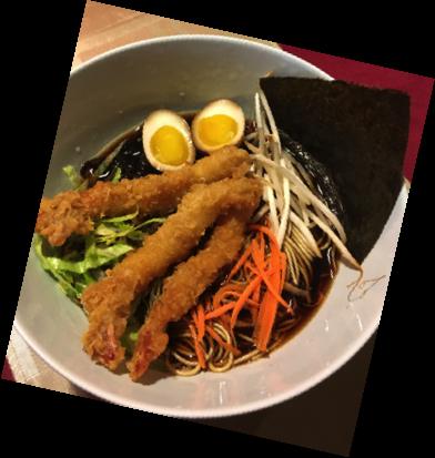Shrimp tempura ramen noodle soup