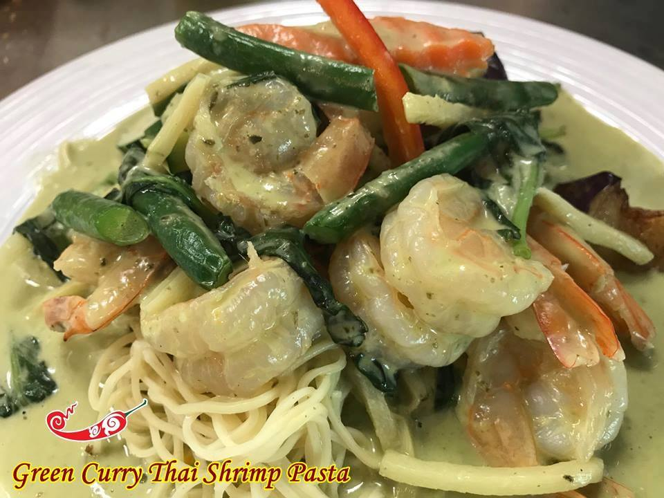 Green Curry Shrimp Pasta