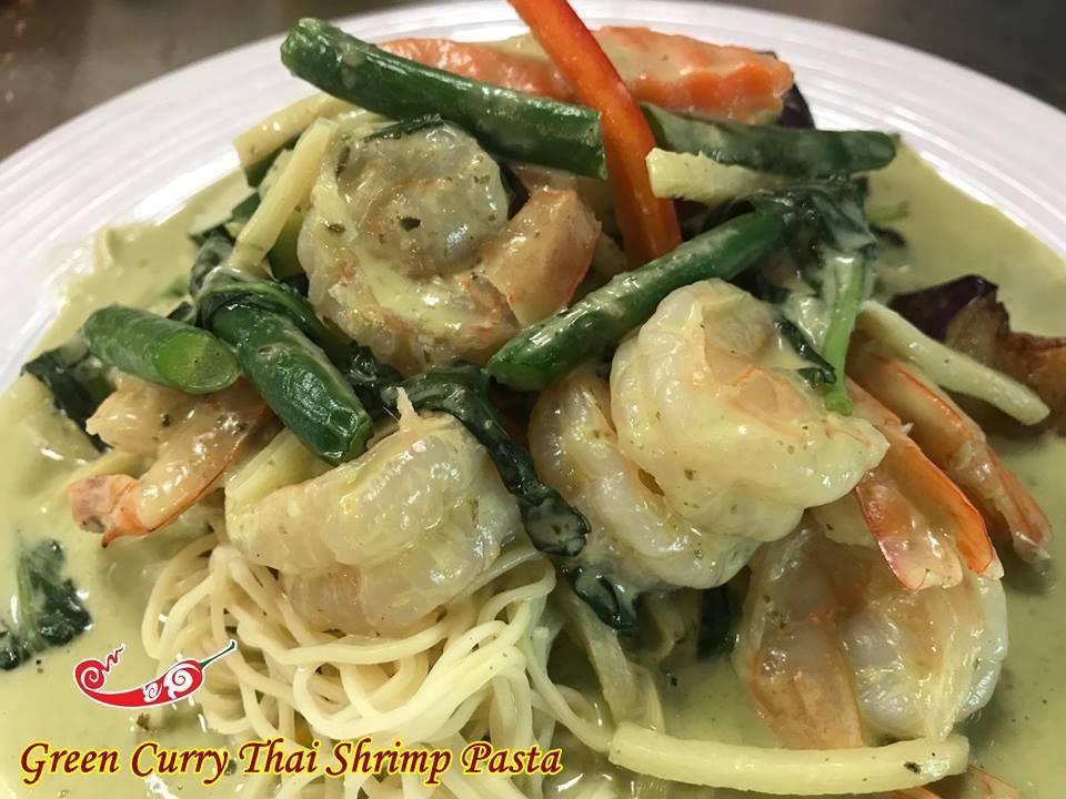 Green Curry Shrimp Pasta Image